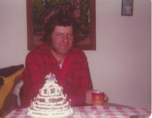 Dad on his birthday, 1982 - looking a lot like Wolverine from the X-Men movies!