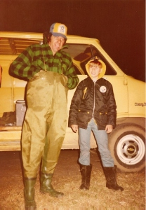Dad in his waders and me in ankle boots - must have been before I put my waders on