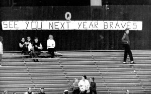 A small crowd for the Braves finale at County Stadium...and a banner that wasn't correct in predicting the future.