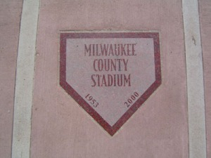 Located in the third base walkway/concourse of Helfaer Field is the marker for County Stadium's home plate.