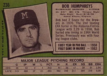 Bob Humphreys back of card