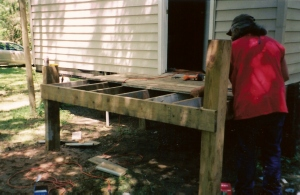 dad building new deck