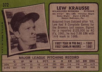 lew krausse back of card