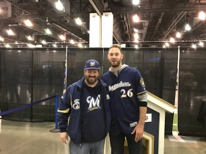 "Yours truly meeting Taylor Jungmann.  My friend told us rather than saying ""cheese"" we should say 'STRIKEOUTS!"""